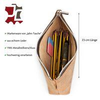 Jahn-Tasche, 010 - Exklusives Federmäppchen bzw. Schlampermäppchen aus Büffelleder in Cognac-Braun, Aufsicht geöffnet mit Inhalt- 04