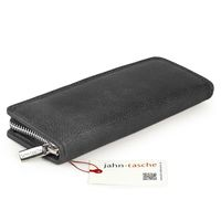 Jahn-Tasche – Exclusive foldable pencil case / leather etui in size M made out of buffalo leather, black, model 012-2