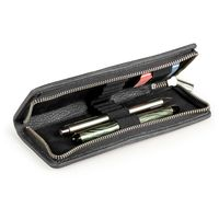 Jahn-Tasche – Exclusive foldable pencil case / leather etui in size M made out of buffalo leather, black, model 012