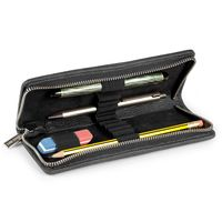 Jahn-Tasche – Exclusive foldable pencil case / leather etui in size M made out of buffalo leather, black, model 012-4