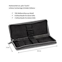 Jahn-Tasche – Exclusive foldable pencil case / leather etui in size M made out of buffalo leather, black, model 012-5