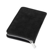 Jahn-Tasche – Exclusive foldable pencil case / leather etui in size M made out of buffalo leather, black, model 012-10
