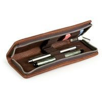 Jahn-Tasche – Exclusive foldable pencil case / leather etui in size M made out of buffalo leather, brown, model 012