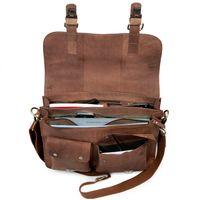 Jahn-Tasche, 410 – Kompakte cognac-braune Aktentasche bzw. Businesstasche, Aufsicht geöffnet stehend mit Inhalt - 04