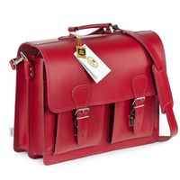Hamosons – Classic briefcase / teacher bag size L made out of leather, light cherry red, model 600