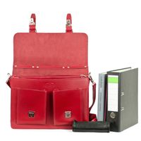 Hamosons – Classic briefcase / teacher bag size L made out of leather, light cherry red, model 600     -2