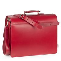 Hamosons – Classic briefcase / teacher bag size L made out of leather, light cherry red, model 600     -4