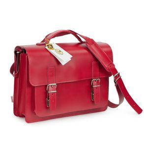 Hamosons, 605 - Mittelgroße, kirsch-rote Aktentasche bzw. Lehrertasche, Schrägansicht von vorne - 02