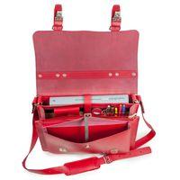 Hamosons, 605 - Mittelgroße, kirsch-rote Aktentasche bzw. Lehrertasche, Aufsicht geöffnet, Detailansicht Innen-Fächer - 03
