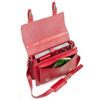 Hamosons, 605 - Mittelgroße, kirsch-rote Aktentasche bzw. Lehrertasche, Aufsicht geöffnet mit Inhalt - 04