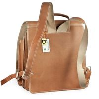 Jahn-Tasche – Very Large leather backpack / teacher backpack size XL made out of leather, marbled brown, model 670