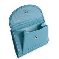 Branco, 31105 - Kleine Geldbörse bzw. Mini Portemonnaie in hellem Türkis-Blau, Schrägansicht mit geöffnetem Münzfach - 02