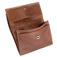 Branco, 35250 - Kleine Geldbörse bzw. Kleines Damen-Portemonnaie in Braun, Schrägansicht mit geöffnetem Münzfach - 02