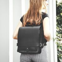 Jahn Tasche – Small leather backpack / city bag size S made out of leather, black, model 667-9