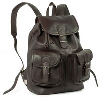 Hamosons – Large leather backpack size L / laptop backpack up to 15.6 inches, made out of nappa leather, brown, model 560