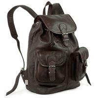 Hamosons 560 - Großer, brauner Lederrucksack bzw. Laptop-Rucksack aus Nappaleder, Seitenansicht - 03