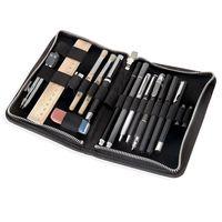 Jahn-Tasche, 422  – Robuste schwarze Aktentasche bzw. Lehrertasche, passendes großes Stifteetui geöffnet mit Inhalt - 16