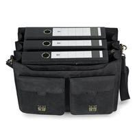 Jahn-Tasche, 422  – Robuste schwarze Aktentasche bzw. Lehrertasche, Frontansicht - Aufsicht geöffnet mit Inhalt: drei A4 Aktenordner - 03