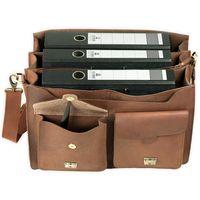 Jahn-Tasche, 422  – Robuste cognac-braune Aktentasche bzw. Lehrertasche, Aufsicht geöffnet mit Inhalt: Drei A4 Aktenordner - 04