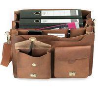 Jahn-Tasche, 422  – Robuste cognac-braune Aktentasche bzw. Lehrertasche, Aufsicht geöffnet mit Detailansicht Fronttasche - 05
