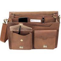 Jahn-Tasche, 422  – Robuste cognac-braune Aktentasche bzw. Lehrertasche, Aufsicht geöffnet mit Detailansicht Organizerfächer - 06