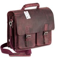 Jahn-Tasche – Large briefcase / teacher bag in size XL made out of buffalo leather, rust red, model 422