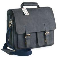 Jahn-Tasche, 422  – Robuste blau-schwarze Aktentasche bzw. Lehrertasche, Schrägansicht von links - 02