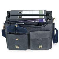 Jahn-Tasche, 422  – Robuste blau-schwarze Aktentasche bzw. Lehrertasche, Aufsicht geöffnet mit Detailansicht Fronttasche - 04