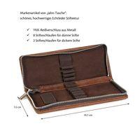 Jahn-Tasche, 422  – Robuste braune Aktentasche bzw. Lehrertasche, passendes kleines Stifteetui geöffnet ohne Inhalt  - 11