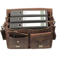 Jahn-Tasche, 422  – Robuste braune Aktentasche bzw. Lehrertasche, Aufsicht geöffnet mit Inhalt drei A4 Aktenordner - 04