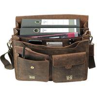 Jahn-Tasche, 422  – Robuste braune Aktentasche bzw. Lehrertasche, Aufsicht geöffnet mit Detailansicht Fronttasche - 05