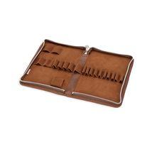 Jahn-Tasche, 014 - Großes Federmäppchen bzw. Stifte-Etui aus Büffelleder in Cognac-Braun, Aufsicht geöffnet ohne Inhalt - 15