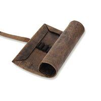 Jahn-Tasche, 015 - Exklusive Stifte-Rolle bzw. Roll-Up-Mäppchen aus Büffelleder in Braun, Aufsicht halb geöffnet - 02
