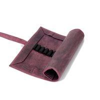 Jahn-Tasche, 015 - Exklusive Stifte-Rolle bzw. Roll-Up-Mäppchen aus Büffelleder in Rost-Rot, Aufsicht halb geöffnet - 02