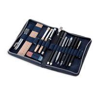 Jahn-Tasche, 420-n  – Robuste blau-schwarze Aktentasche bzw. Lehrertasche, passendes großes Stifteetui geöffnet mit Inhalt - 09