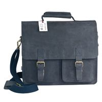 Jahn-Tasche – Large briefcase / teacher bag in size L made out of buffalo leather, blue black, model 420-n