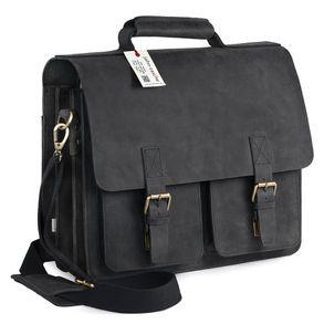 Jahn-Tasche, 420-n  – Robuste schwarze Aktentasche bzw. Lehrertasche, Schrägansicht von vorne links - 01