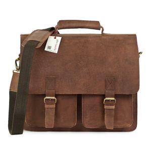 Jahn-Tasche, 420-n  – Robuste braune Aktentasche bzw. Lehrertasche, Frontansicht - 01