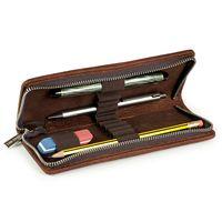 Jahn-Tasche, 420-n  – Sehr robuste braune Aktentasche bzw. Lehrertasche, passendes kleines Stifteetui geöffnet mit Inhalt - 11