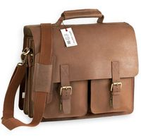 Jahn-Tasche – Large briefcase / teacher bag in size L made out of buffalo leather, cognac brown, model 420-n-3