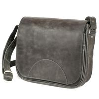 Hamosons – Women's handbag size M / shoulder bag in a retro look made out of leather, anthracite grey, model 577