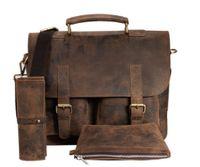 Jahn-Tasche, 410 – Kompakte braune Aktentasche bzw. Businesstasche, Tasche mit verschiedenen dazu passenden Federmäppchen - 11