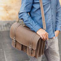 Hamosons – Klassische Aktentasche / Lehrertasche Größe L aus Leder, Matt-Braun, Modell 608
