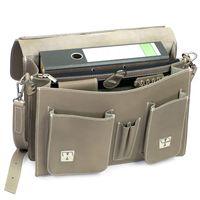 Hamosons, 608 - Klassische, graue Aktentasche bzw. Lehrertasche, Aufsicht geöffnet mit A4 Aktenordner - 03