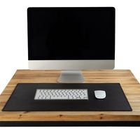 Hamosons – High quality desk cover / desk pad made out of real leather, black, model 100