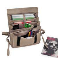 Jahn-Tasche, 668 - Mittelgroßer, beige-grauer Lederrucksack bzw. Lehrerrucksack, Aufsicht geöffnet mit Inhalt - 04